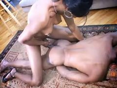 Hot ebony tranny assfucks black guy