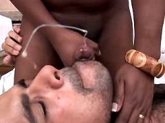Ebony shemale fucks guy and jizzes