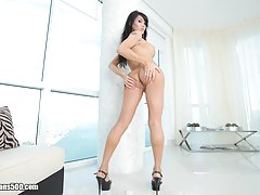 Watch the sexy Eva Lin fuck Ramon and Castro in this hardcore 3some!