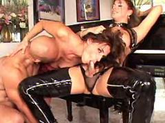 Lusty latin shemale sucked in group