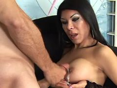 Asian shemale gets cumload on tits